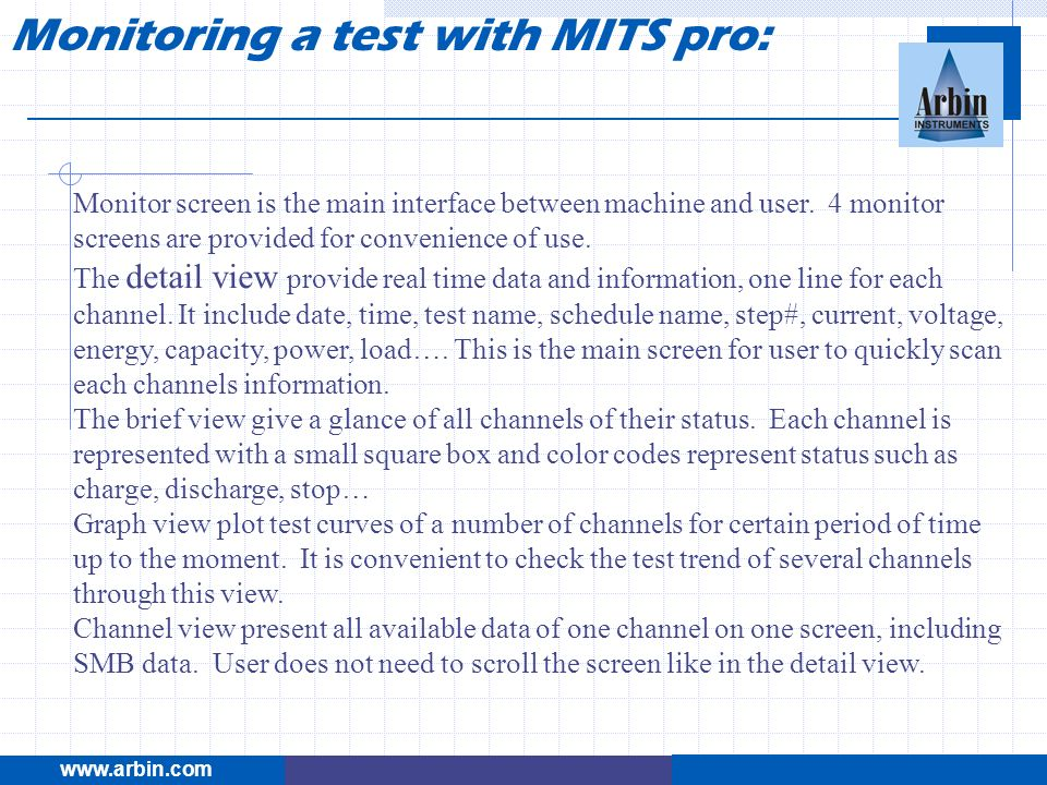 Monitoring a test with MITS pro: