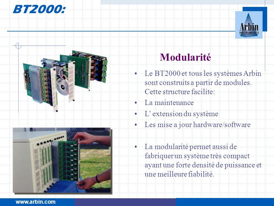 BT2000: www.arbin.com. Modularité. Le BT2000 et tous les systèmes Arbin sont construits a partir de modules. Cette structure facilite: