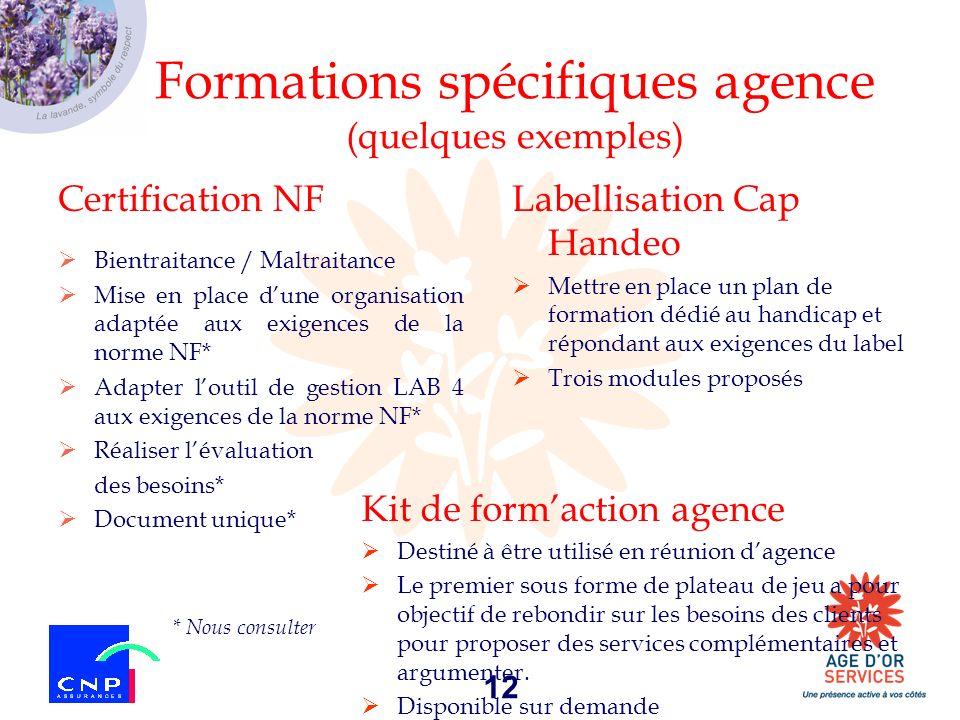 Formations spécifiques agence (quelques exemples)
