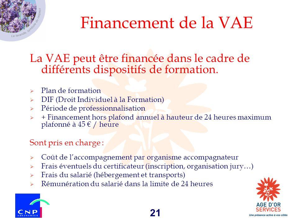 Financement de la VAE La VAE peut être financée dans le cadre de différents dispositifs de formation.