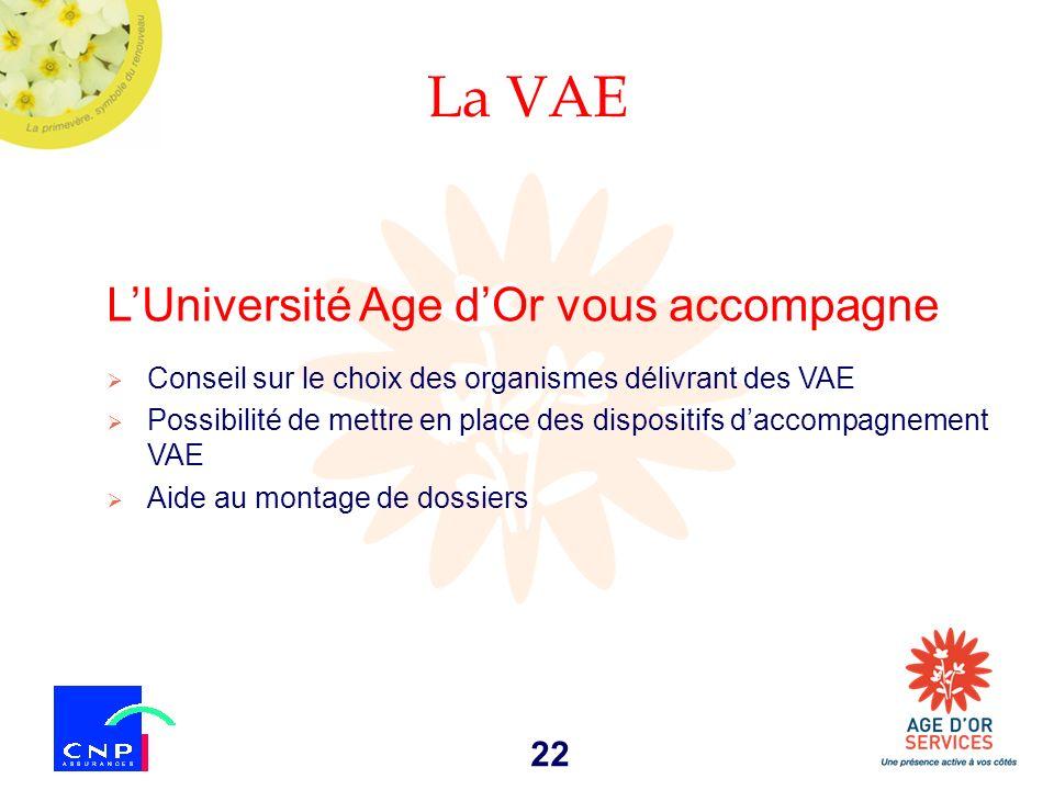 La VAE L'Université Age d'Or vous accompagne