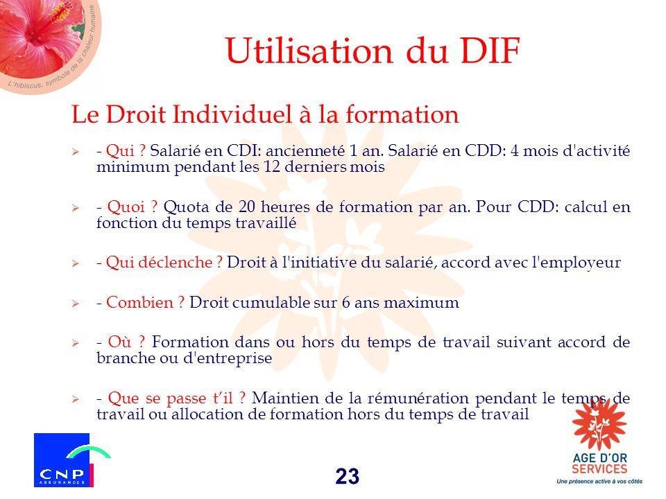 Utilisation du DIF Le Droit Individuel à la formation
