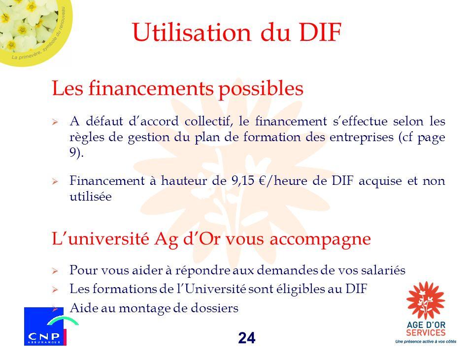 Utilisation du DIF Les financements possibles