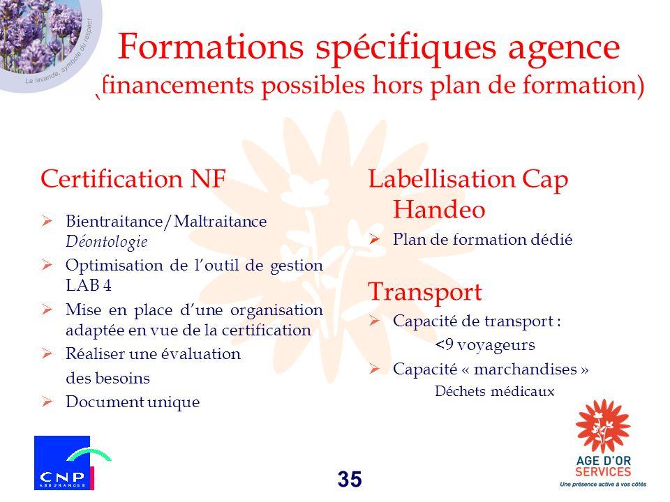 Formations spécifiques agence (financements possibles hors plan de formation)