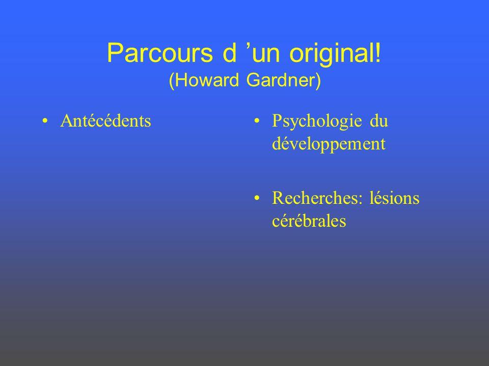 Parcours d 'un original! (Howard Gardner)