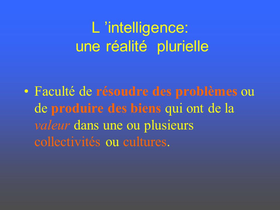 L 'intelligence: une réalité plurielle