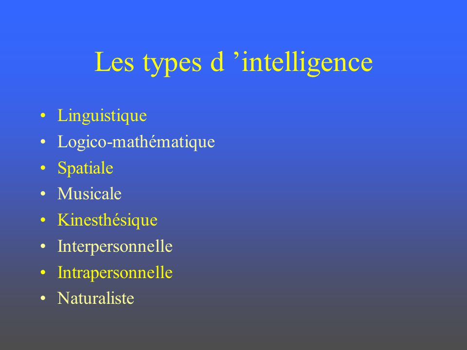 Les types d 'intelligence