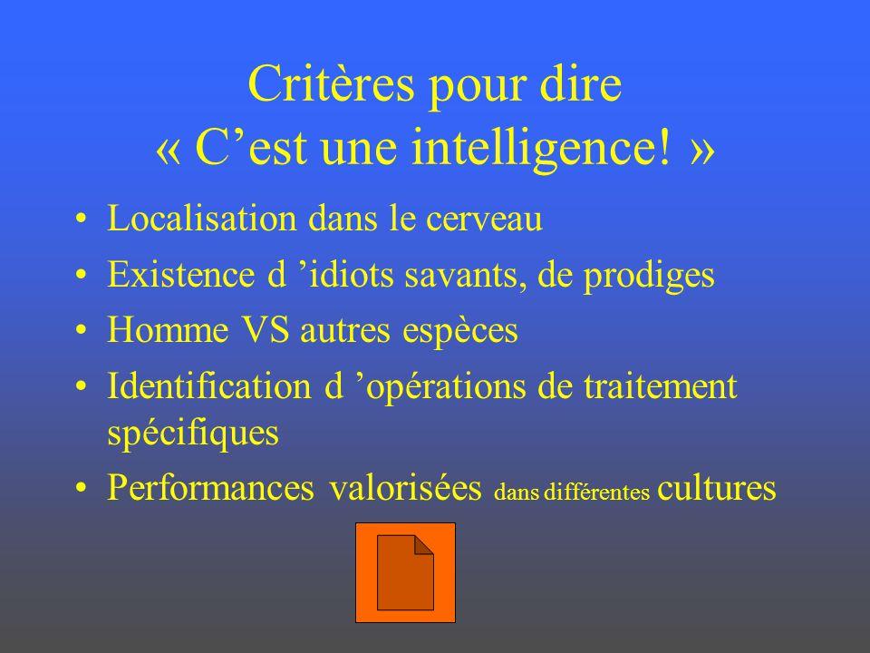 Critères pour dire « C'est une intelligence! »