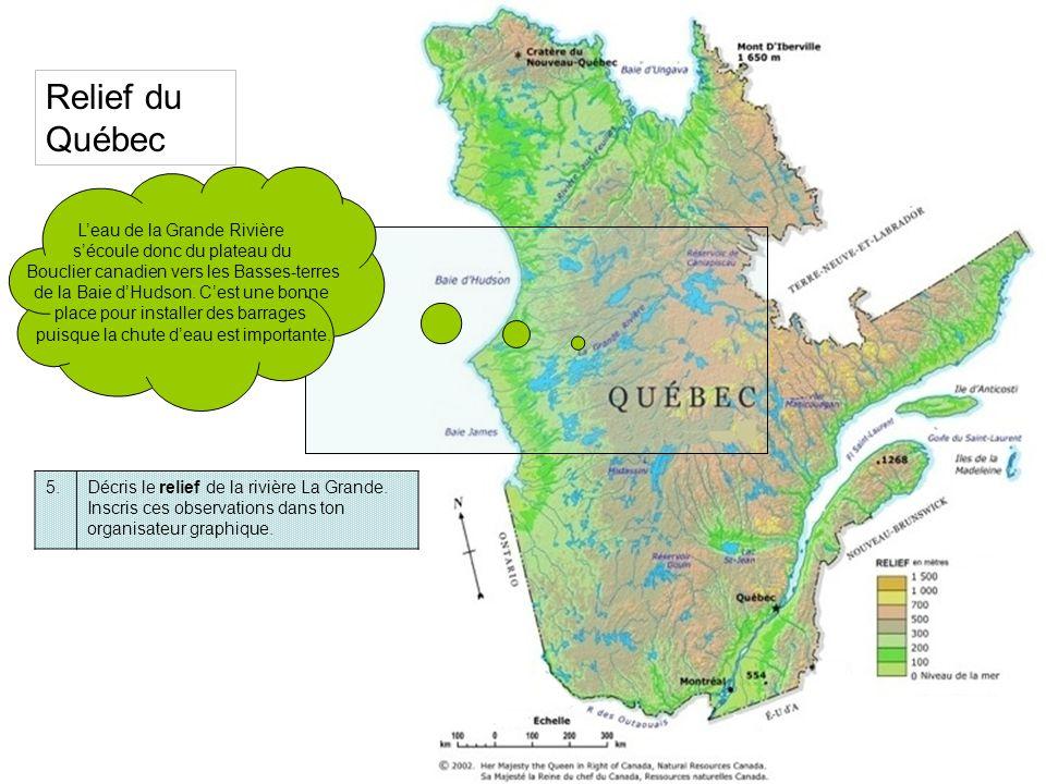 Relief du Québec L'eau de la Grande Rivière