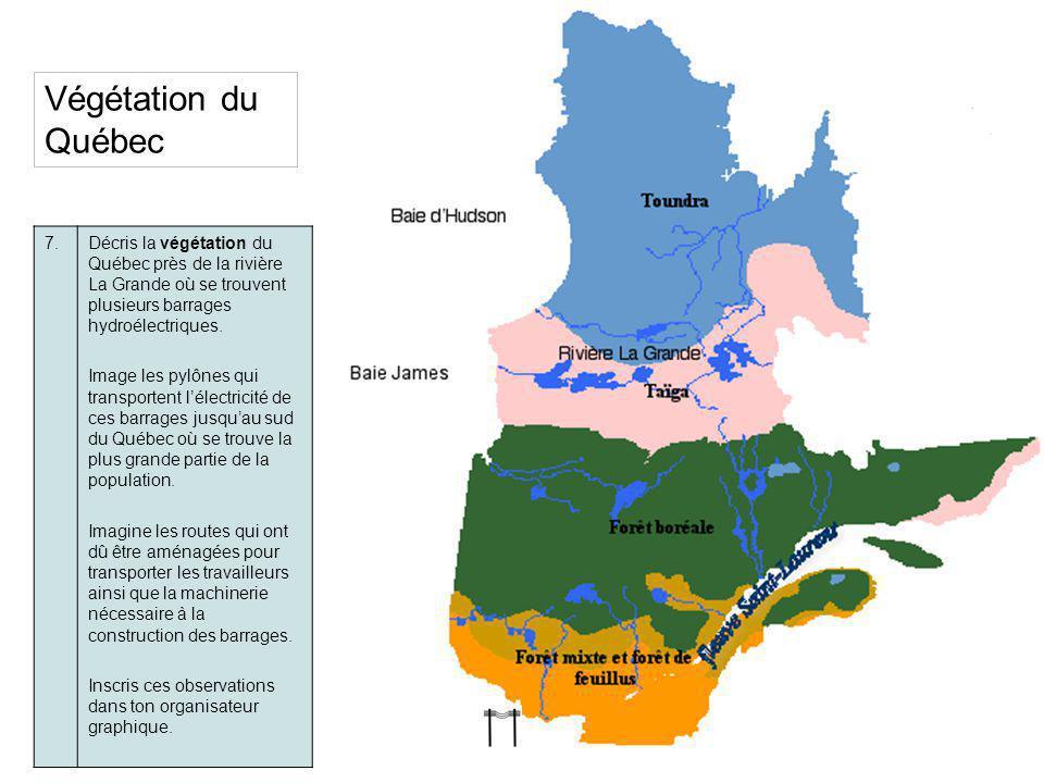 Végétation du Québec 7. Décris la végétation du Québec près de la rivière La Grande où se trouvent plusieurs barrages hydroélectriques.