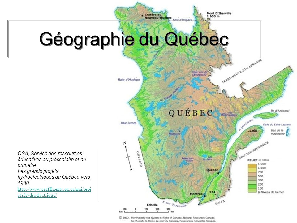 Géographie du Québec CSA, Service des ressources éducatives au préscolaire et au primaire. Les grands projets hydroélectriques au Québec vers 1980.