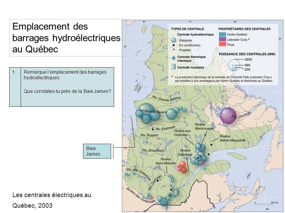Emplacement des barrages hydroélectriques au Québec