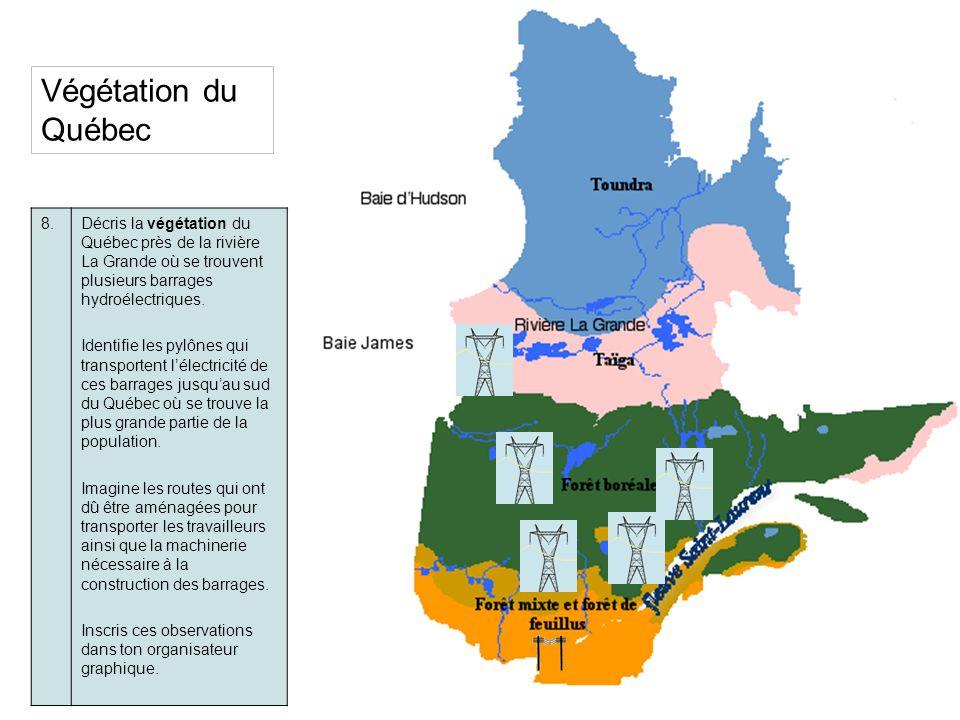 Végétation du Québec 8. Décris la végétation du Québec près de la rivière La Grande où se trouvent plusieurs barrages hydroélectriques.