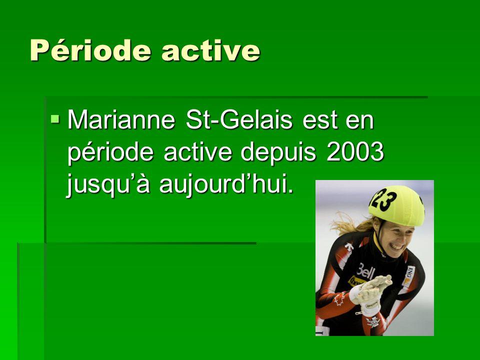 Période active Marianne St-Gelais est en période active depuis 2003 jusqu'à aujourd'hui.