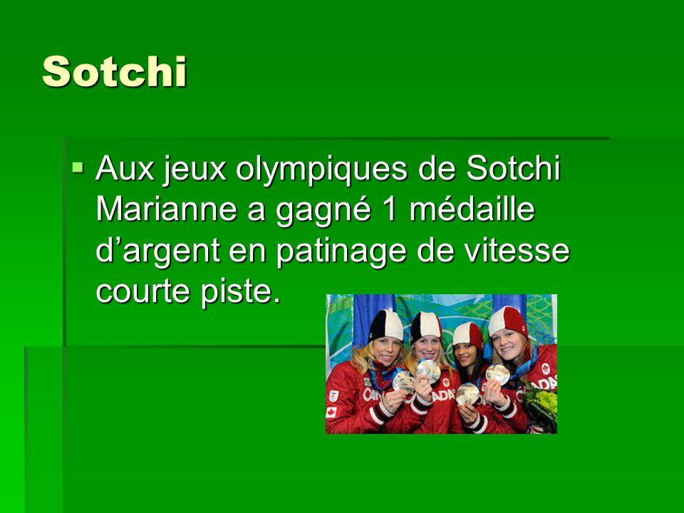 Sotchi Aux jeux olympiques de Sotchi Marianne a gagné 1 médaille d'argent en patinage de vitesse courte piste.