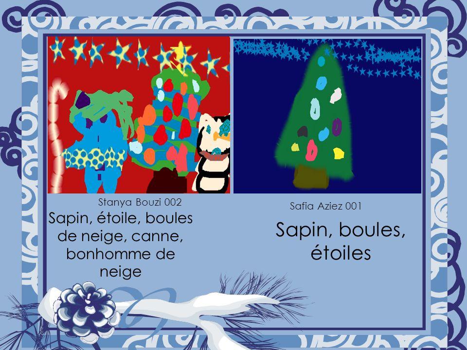Sapin, étoile, boules de neige, canne, bonhomme de neige