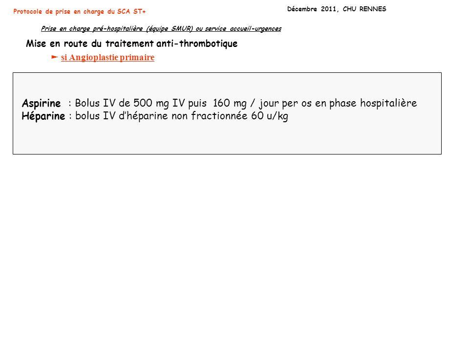 Héparine : bolus IV d'héparine non fractionnée 60 u/kg