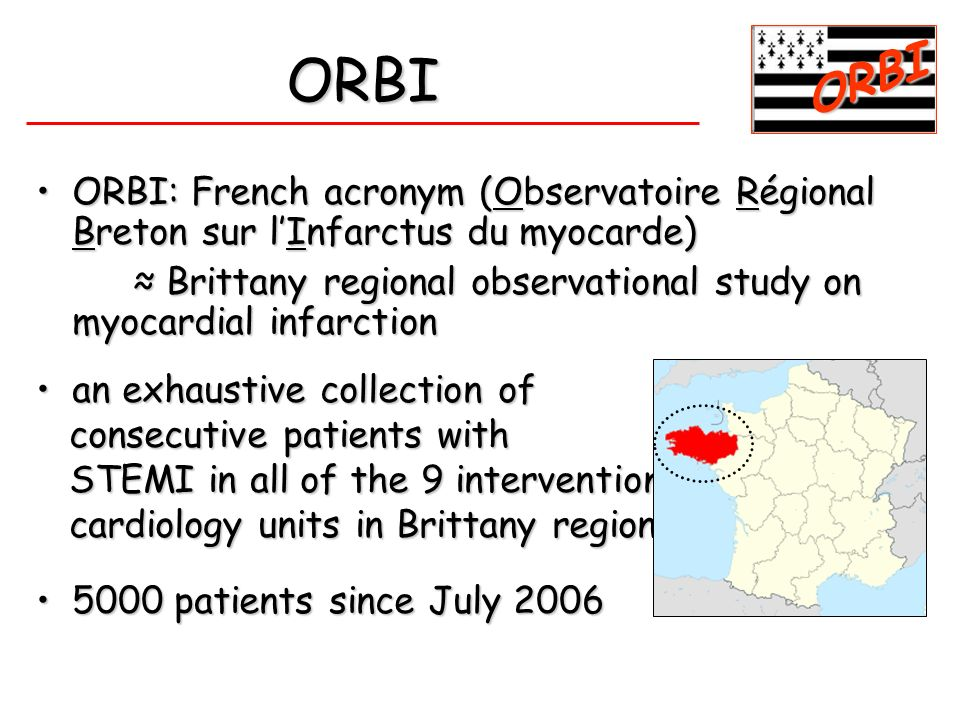 ORBI ORBI. ORBI: French acronym (Observatoire Régional Breton sur l'Infarctus du myocarde)