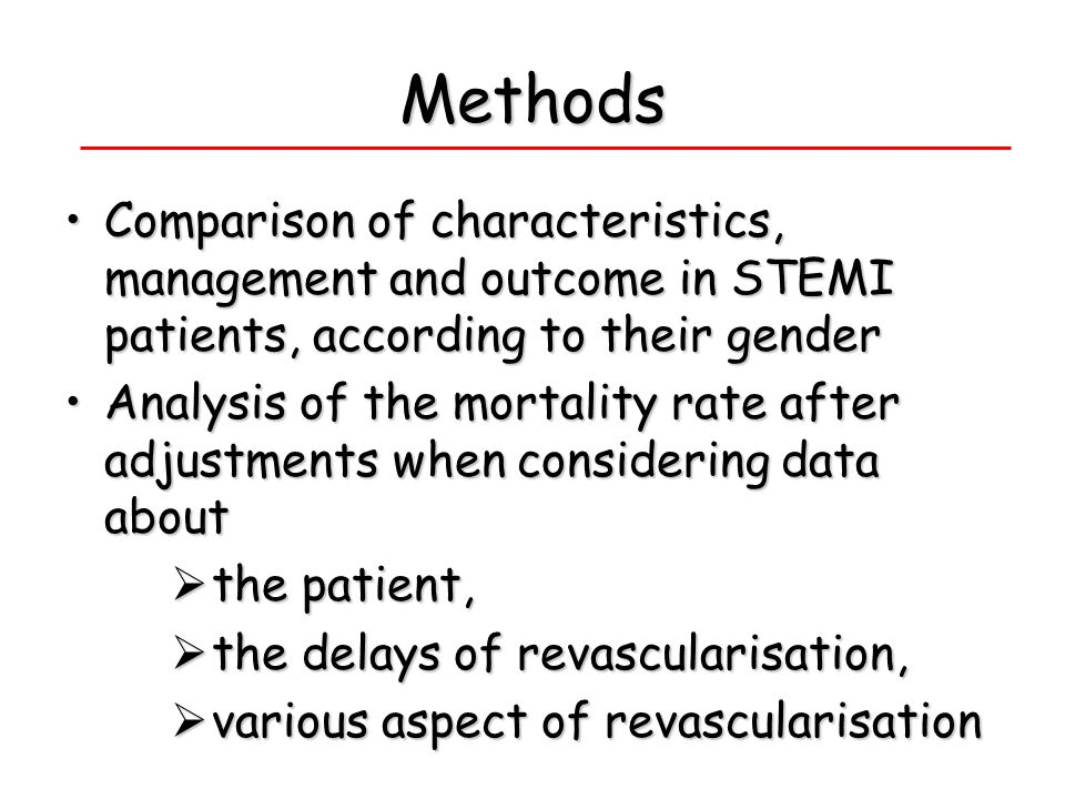 Methods Comparison of characteristics, management and outcome in STEMI patients, according to their gender.