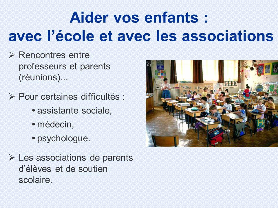 Aider vos enfants : avec l'école et avec les associations