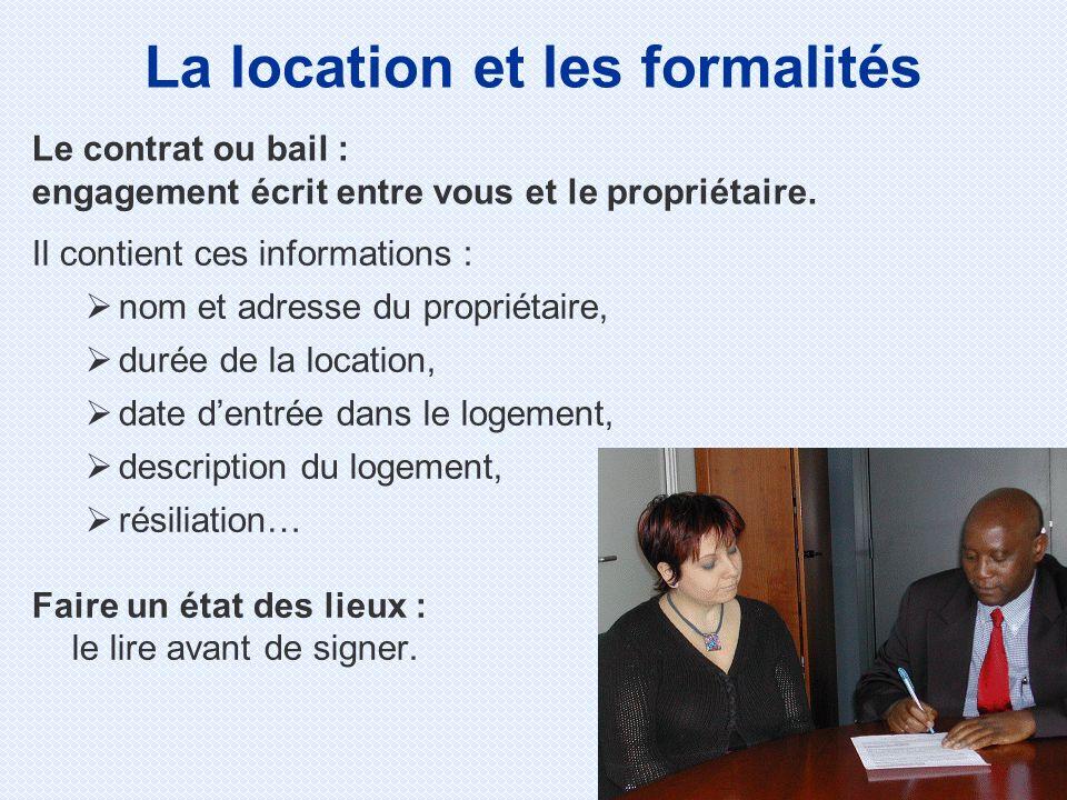La location et les formalités