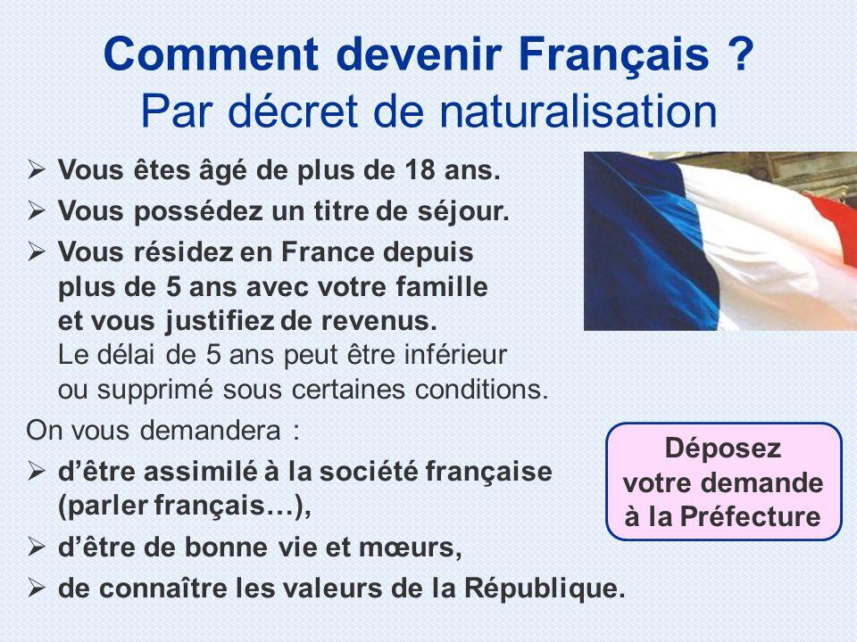 Comment devenir Français Déposez votre demande à la Préfecture