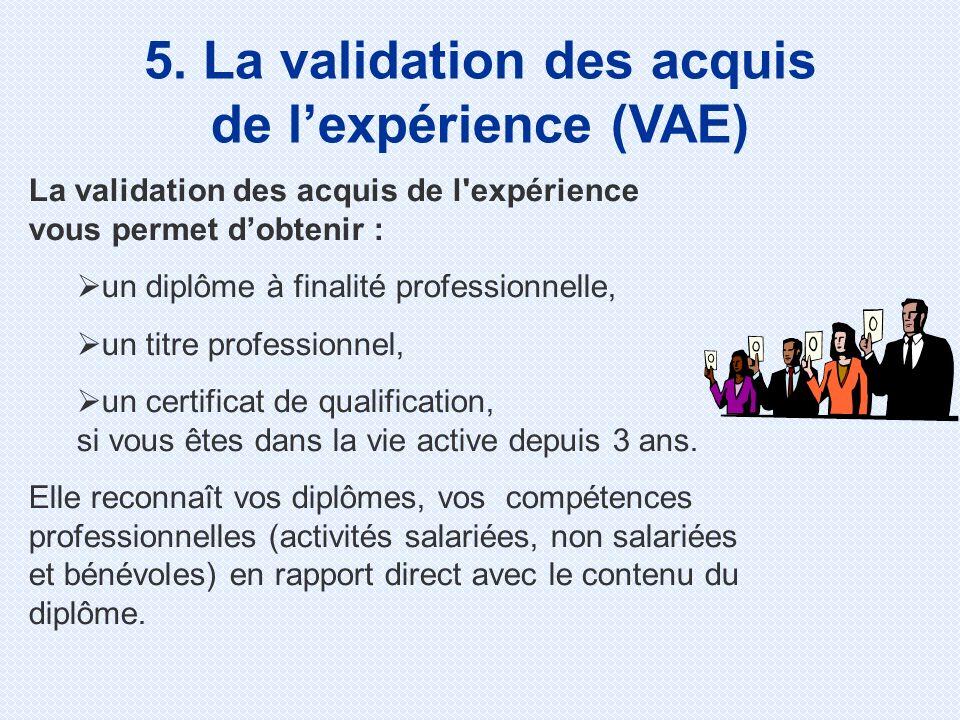 5. La validation des acquis de l'expérience (VAE)