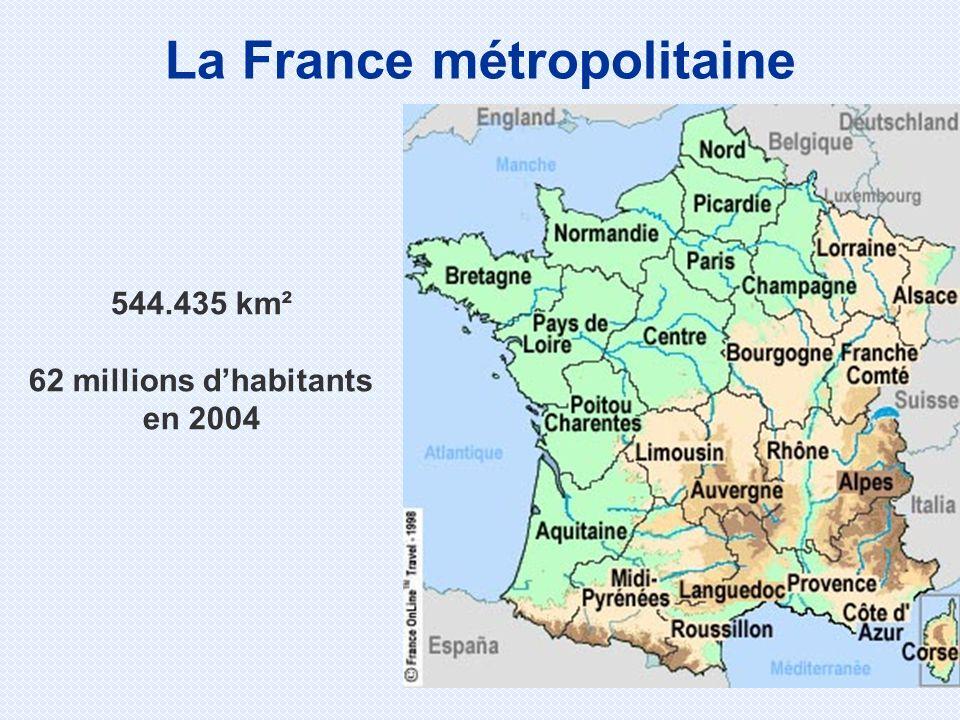 La France métropolitaine 62 millions d'habitants en 2004