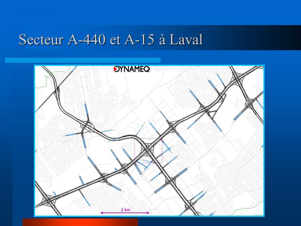 Secteur A-440 et A-15 à Laval 2 km
