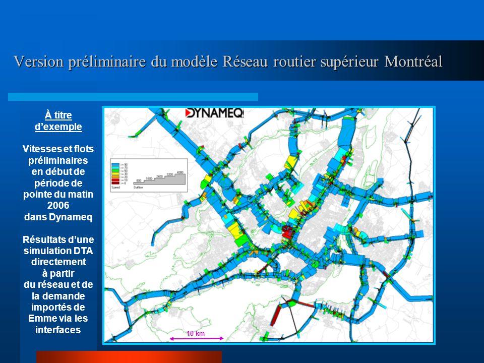 Version préliminaire du modèle Réseau routier supérieur Montréal