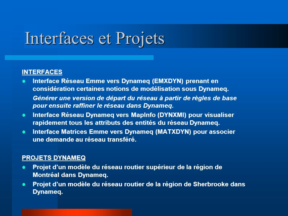 Interfaces et Projets INTERFACES