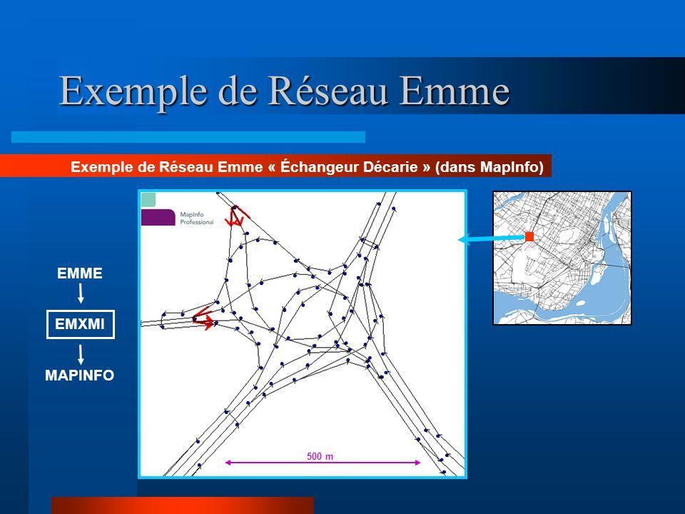 Exemple de Réseau Emme Exemple de Réseau Emme « Échangeur Décarie » (dans MapInfo) 500 m. EMME. EMXMI.