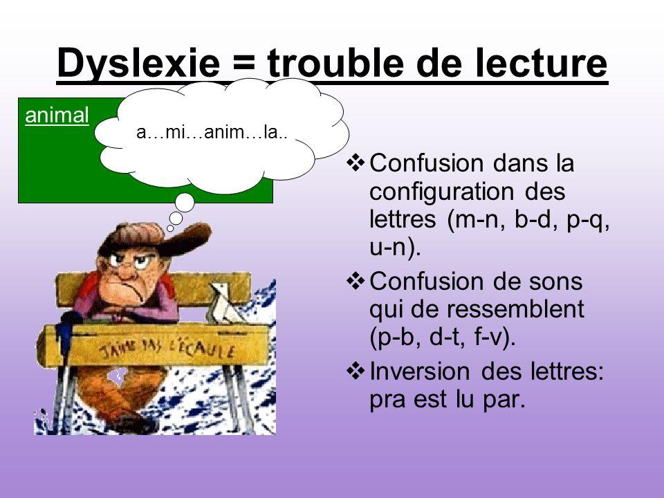 Dyslexie = trouble de lecture