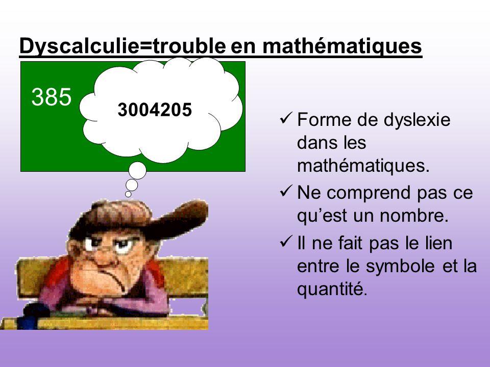 Dyscalculie=trouble en mathématiques