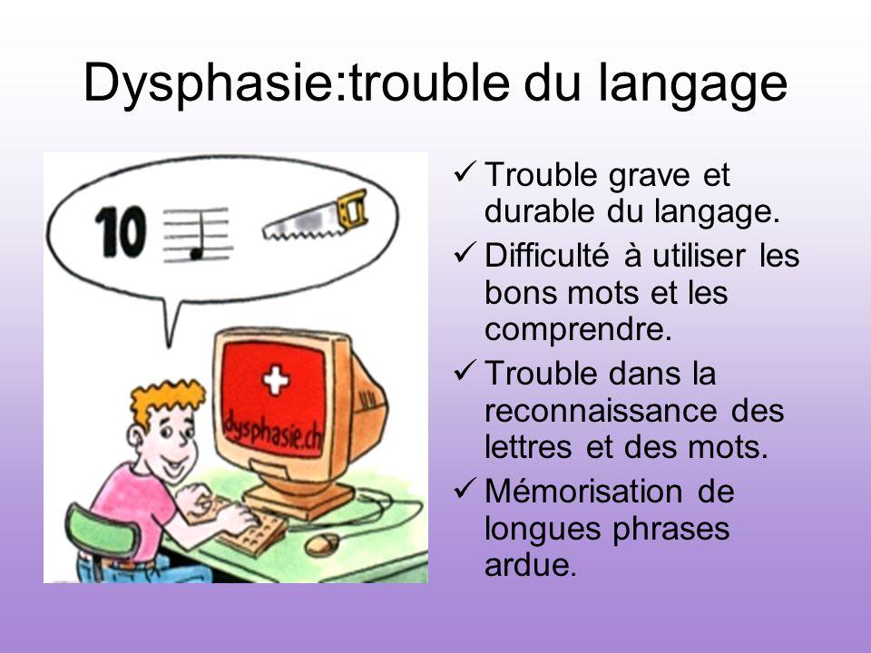 Dysphasie:trouble du langage