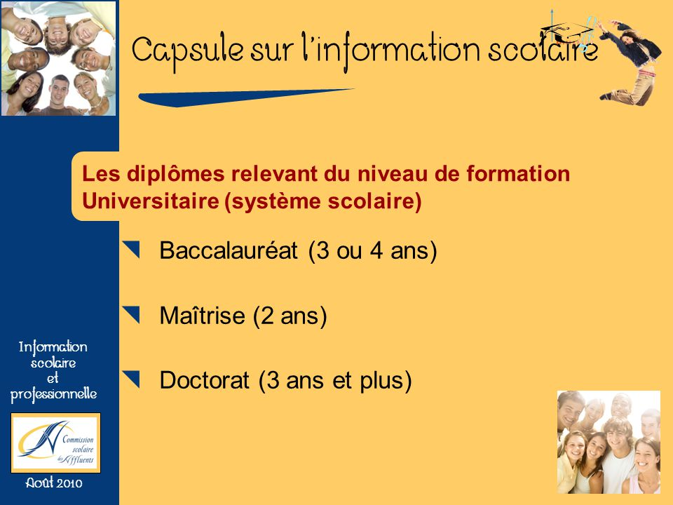 Baccalauréat (3 ou 4 ans) Maîtrise (2 ans) Doctorat (3 ans et plus)