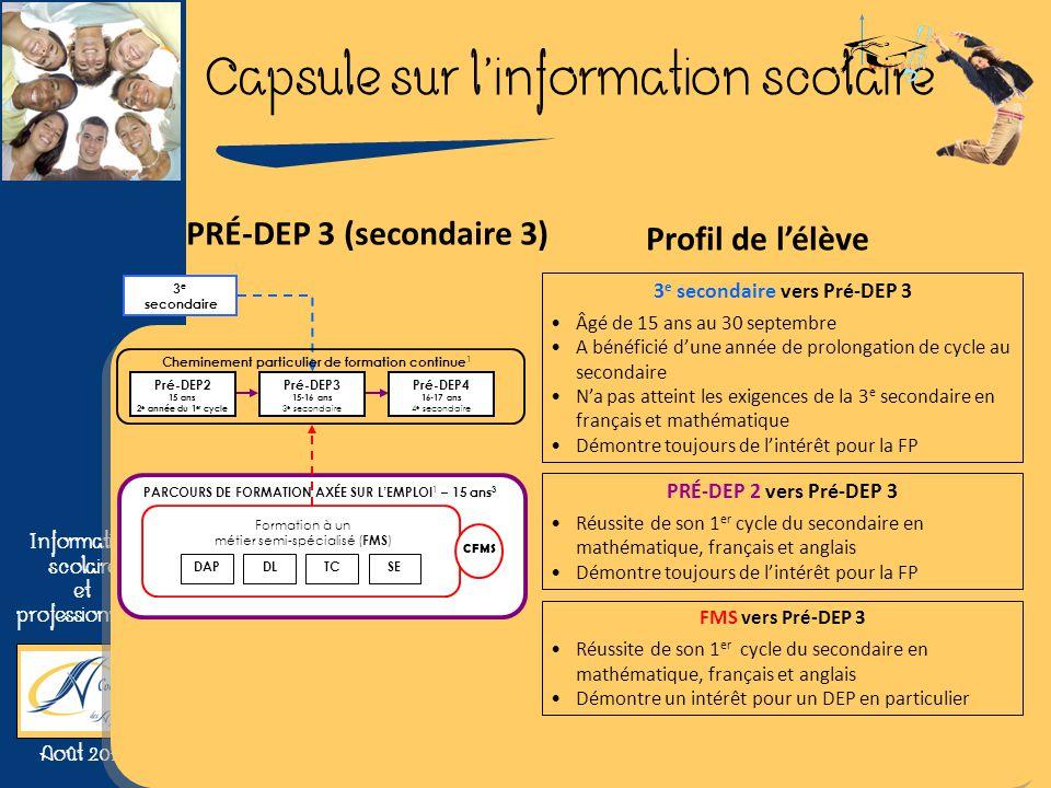 3e secondaire vers Pré-DEP 3