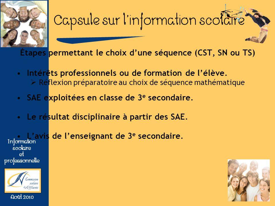 Étapes permettant le choix d'une séquence (CST, SN ou TS)