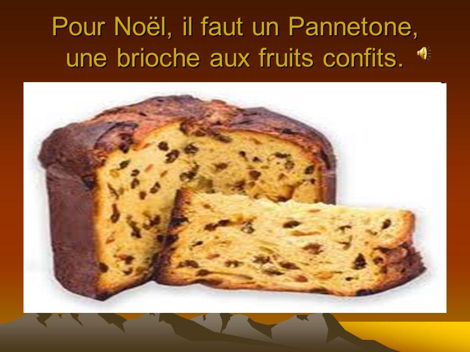 Pour Noël, il faut un Pannetone, une brioche aux fruits confits.