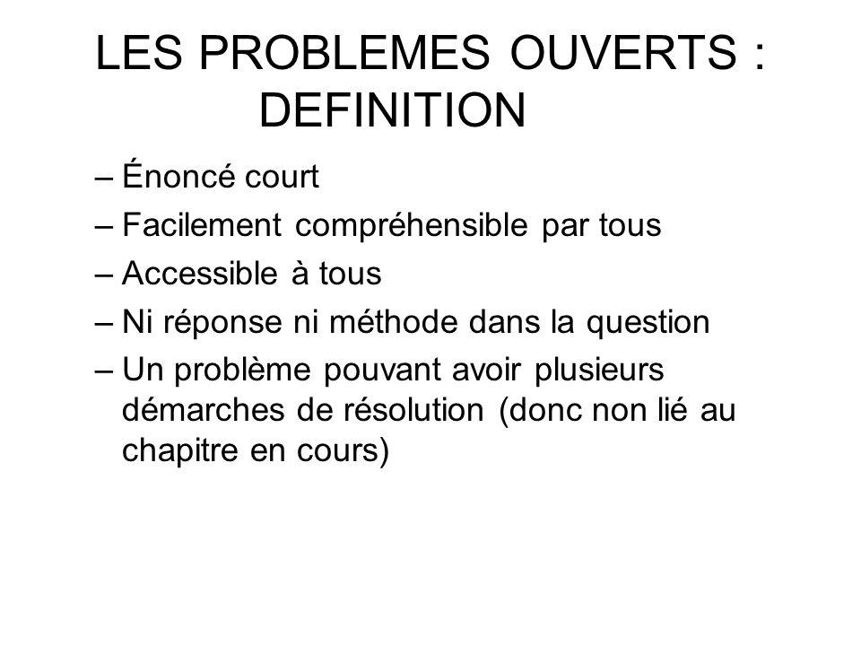 LES PROBLEMES OUVERTS : DEFINITION