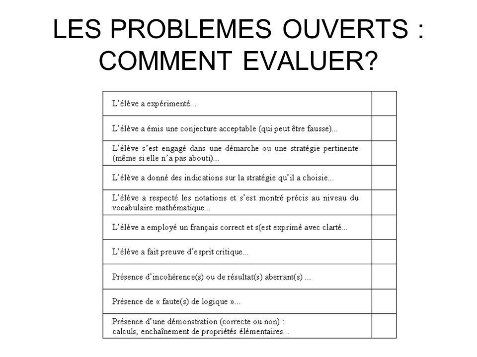 LES PROBLEMES OUVERTS : COMMENT EVALUER