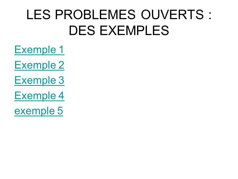 LES PROBLEMES OUVERTS : DES EXEMPLES