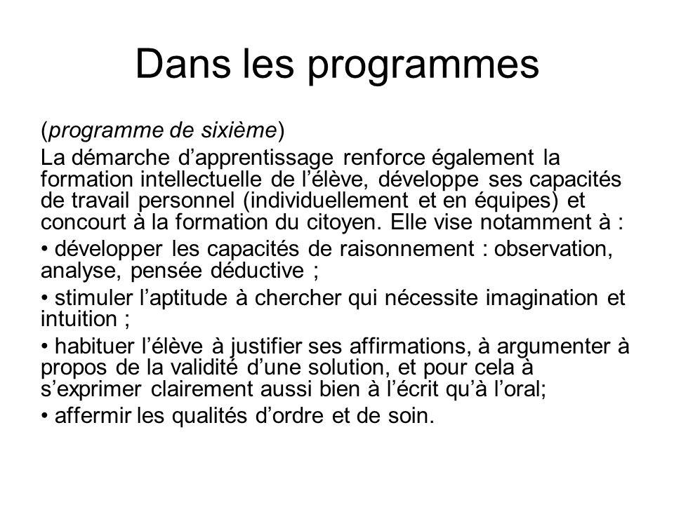 Dans les programmes (programme de sixième)