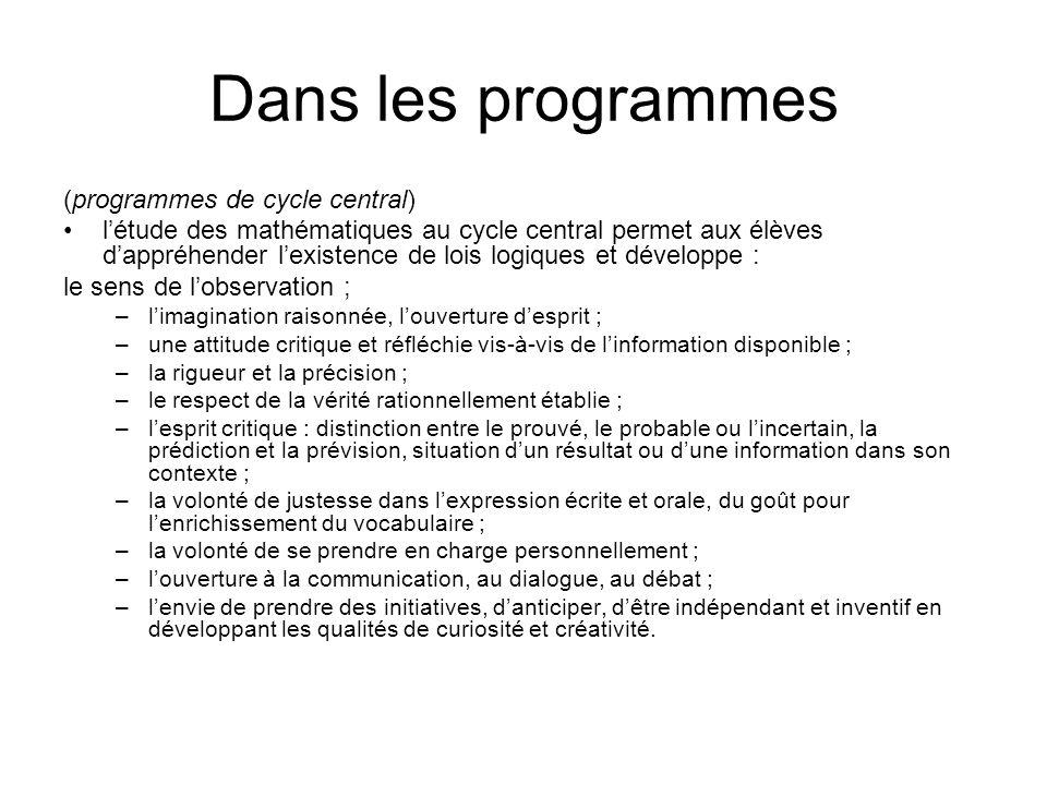 Dans les programmes (programmes de cycle central)