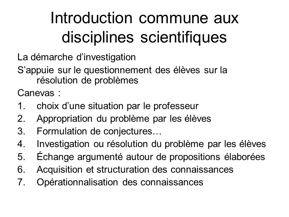 Introduction commune aux disciplines scientifiques