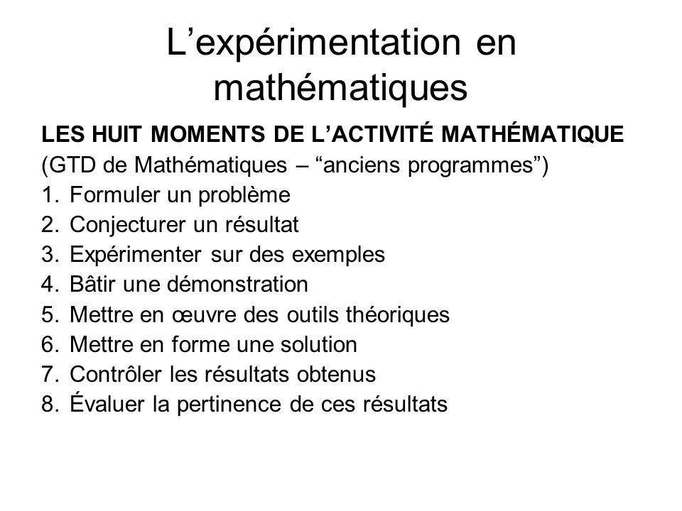 L'expérimentation en mathématiques