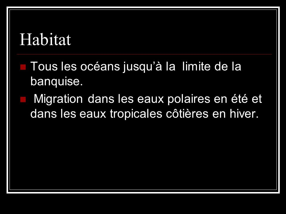 Habitat Tous les océans jusqu'à la limite de la banquise.