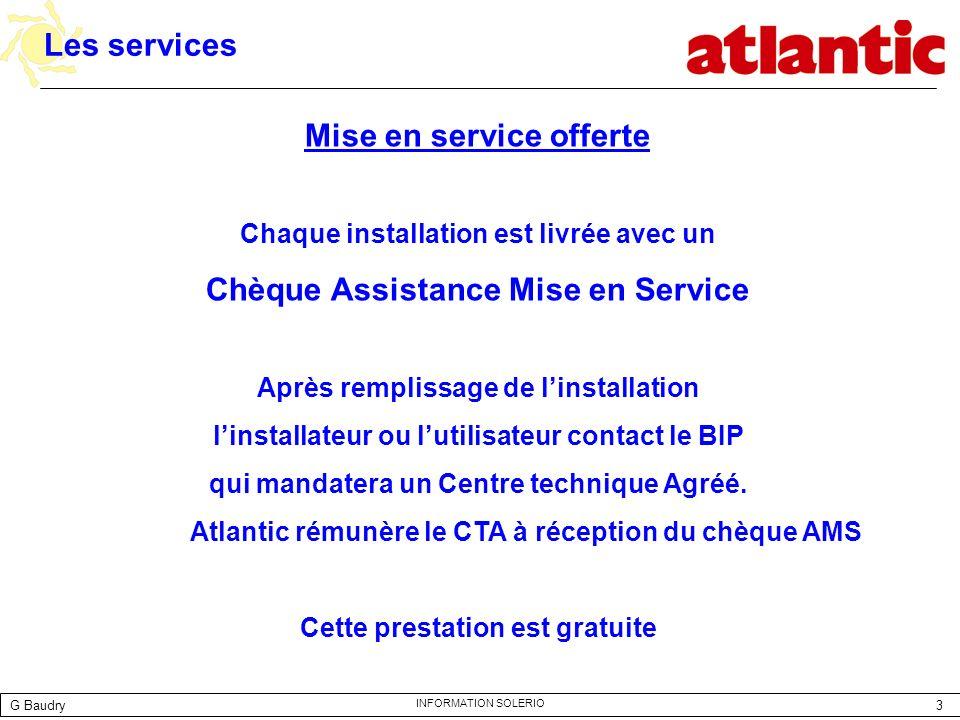 Mise en service offerte Chèque Assistance Mise en Service