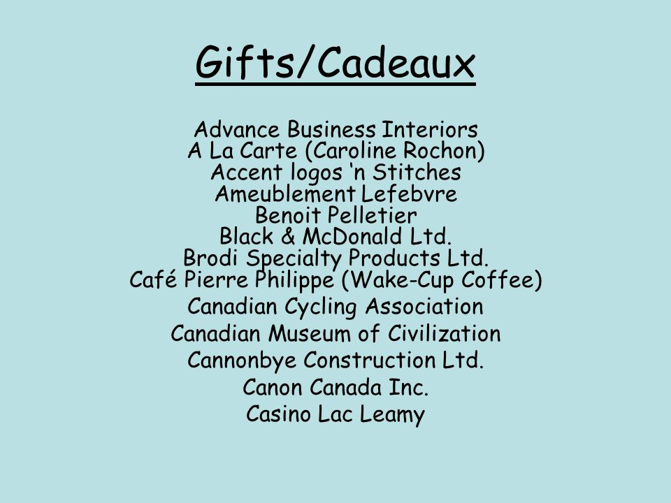 Gifts/Cadeaux Advance Business Interiors A La Carte (Caroline Rochon)