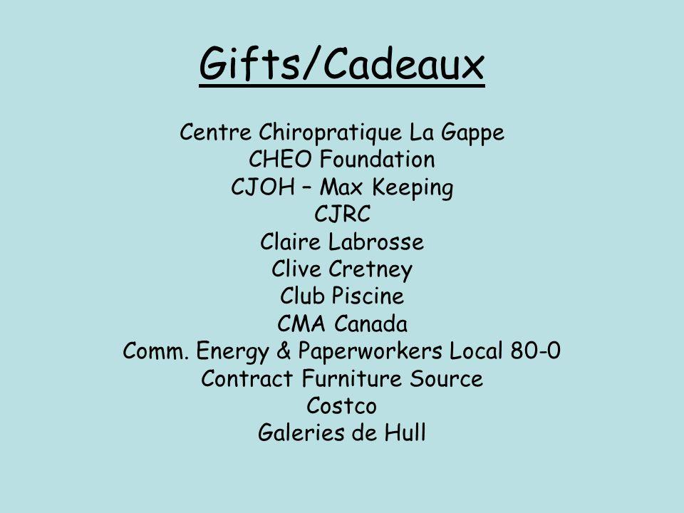 Gifts/Cadeaux Centre Chiropratique La Gappe CHEO Foundation